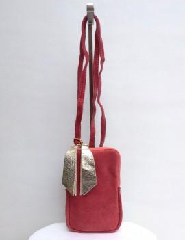 Lola rose - pochette en cuir retourné