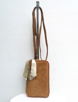 Lola camel - pochette en cuir retourné