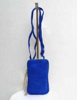 Lola bleue - pochette en cuir retourné