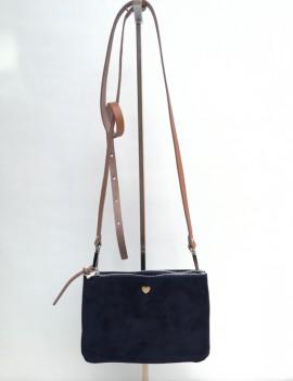 Nina - sac à main en cuir retourné noir