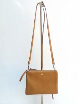 Nina - sac à main en cuir camel