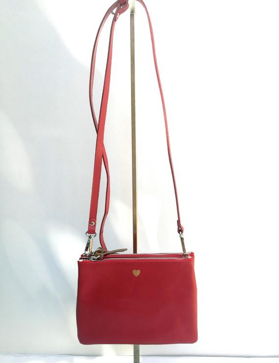 Nina - sac à main en cuir crouge
