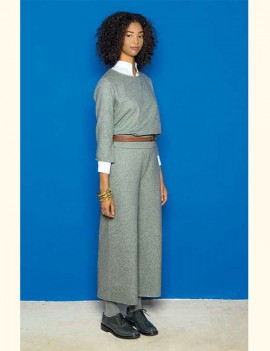 niu - pantalon gris en laine feutrée - Fatou