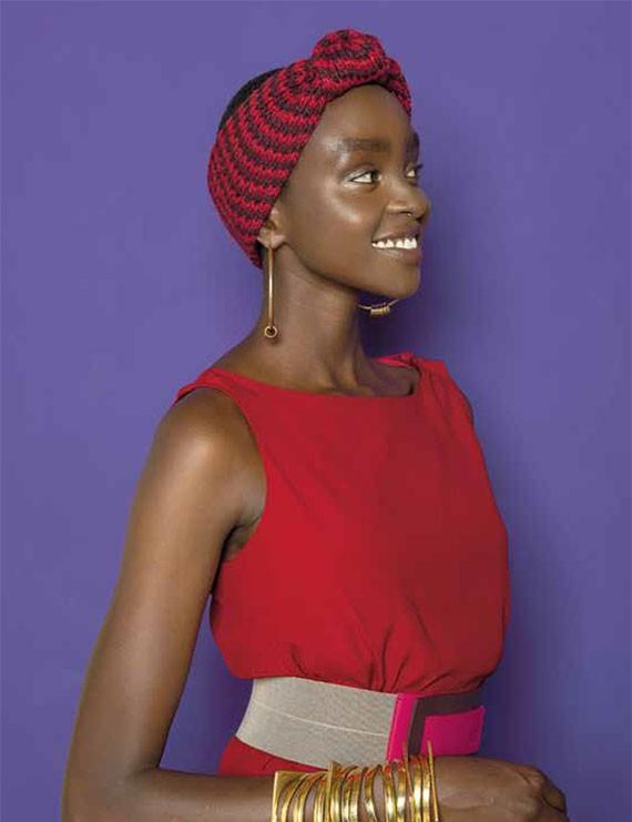 niu -head band en tricot grosse maille bicolore - Rokia