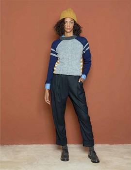 niu - pantalon bleu coupe carotte - Ina