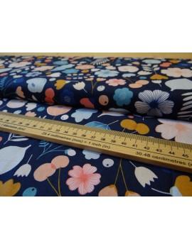 Coloured flower carpet on navy