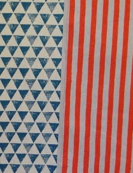 Echino Orange strips and dark blue