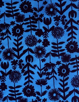 flowers on dark blue - kokka